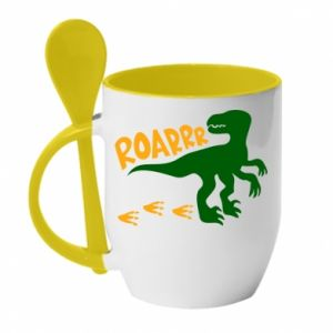 Mug with ceramic spoon Roarrr - PrintSalon