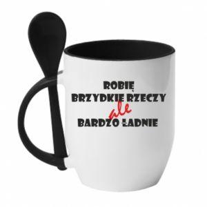 Mug with ceramic spoon I do ugly things but very nice - PrintSalon