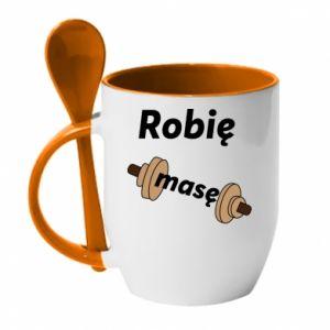 Mug with ceramic spoon I'm doing mass - PrintSalon