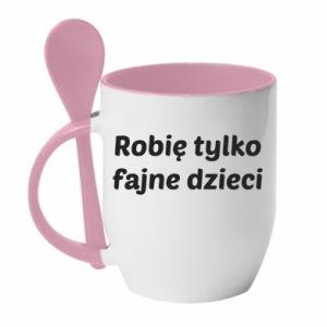 Mug with ceramic spoon I make only cool kids - PrintSalon