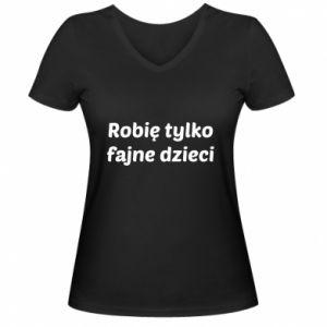 Women's V-neck t-shirt I make only cool kids - PrintSalon