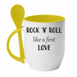 Kubek z ceramiczną łyżeczką Rock 'n' roll like a first love