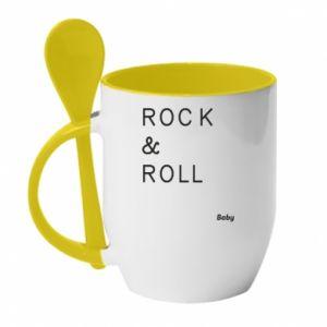 Kubek z ceramiczną łyżeczką Rock & Roll Baby