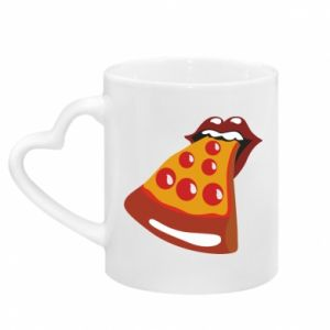 Mug with heart shaped handle Rolling pizza