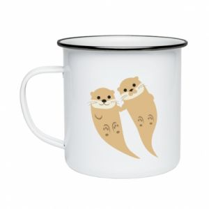 Kubek emaliowany Romantic Otters