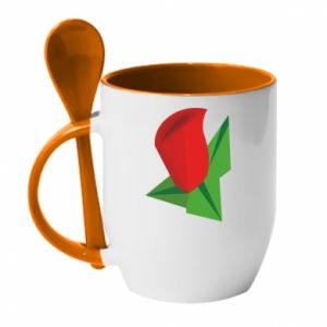 Mug with ceramic spoon Rose flower abstraction - PrintSalon