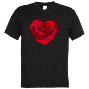 Męska koszulka V-neck Rose heart - PrintSalon