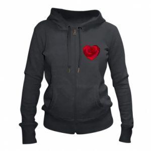 Women's zip up hoodies Rose heart