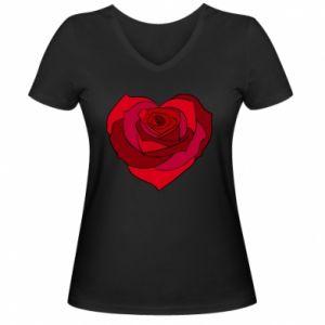 Damska koszulka V-neck Rose heart - PrintSalon