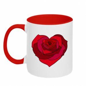 Kubek dwukolorowy Rose heart - PrintSalon