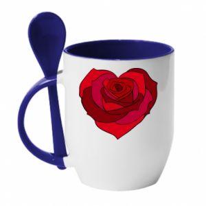Mug with ceramic spoon Rose heart