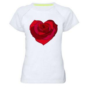 Damska koszulka sportowa Rose heart - PrintSalon