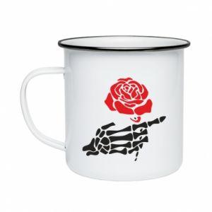 Kubek emaliowane Rose skeleton hand