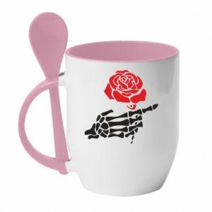 Kubek z ceramiczną łyżeczką Rose skeleton hand