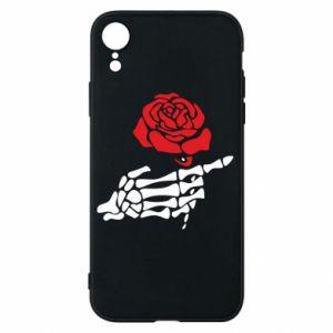 Etui na iPhone XR Rose skeleton hand