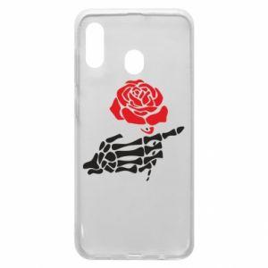 Etui na Samsung A20 Rose skeleton hand