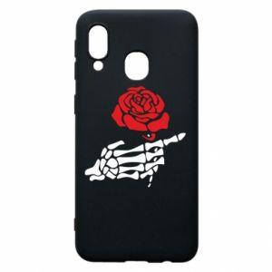 Etui na Samsung A40 Rose skeleton hand