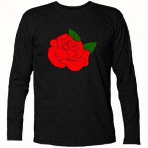 Koszulka z długim rękawem Rose with leaves - PrintSalon