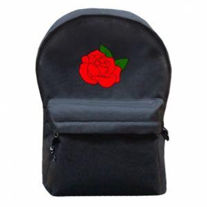 Plecak z przednią kieszenią Rose with leaves - PrintSalon