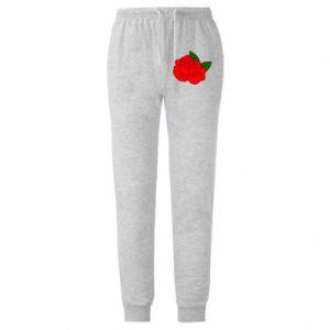 Męskie spodnie lekkie Rose with leaves - PrintSalon