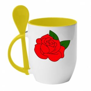 Kubek z ceramiczną łyżeczką Rose with leaves - PrintSalon