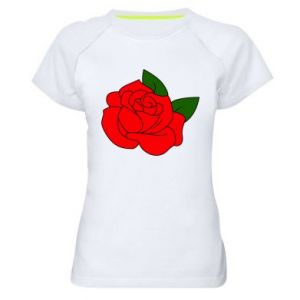 Damska koszulka sportowa Rose with leaves - PrintSalon