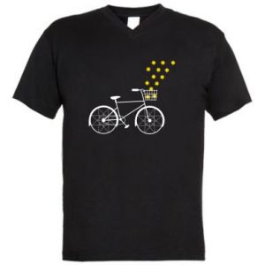 Men's V-neck t-shirt Bike and stars