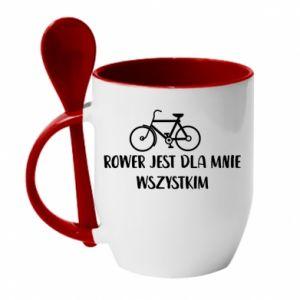 Kubek z ceramiczną łyżeczką Rower jest dla mnie wszystkim