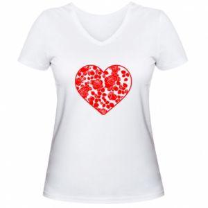 Damska koszulka V-neck Róże w sercu