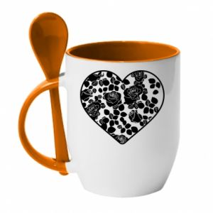 Mug with ceramic spoon Roses in the heart - PrintSalon