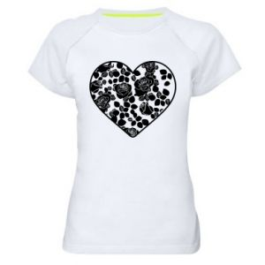 Women's sports t-shirt Roses in the heart