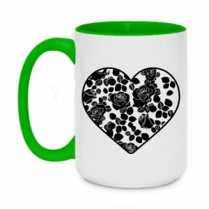 Two-toned mug 450ml Roses in the heart