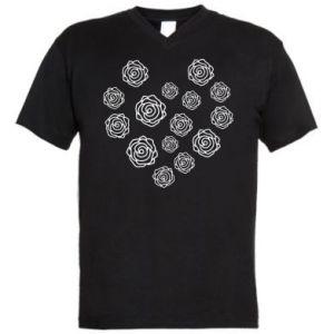 Men's V-neck t-shirt Roses