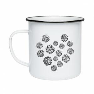 Enameled mug Roses