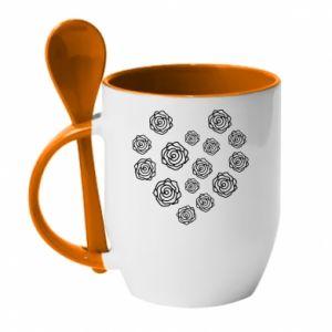 Mug with ceramic spoon Roses