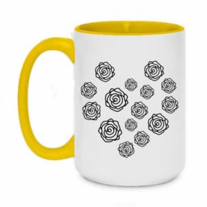 Two-toned mug 450ml Roses