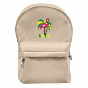Backpack with front pocket Pink flamingo