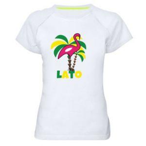 Women's sports t-shirt Pink flamingo