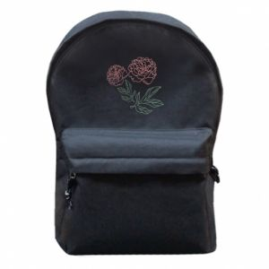 Backpack with front pocket Pink peonies