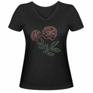 Women's V-neck t-shirt Pink peonies