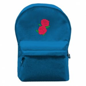 Backpack with front pocket Pink roses
