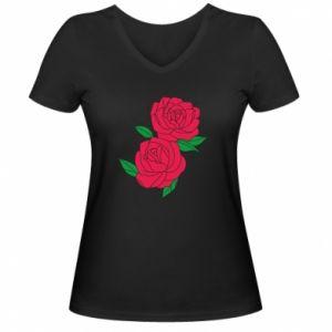 Women's V-neck t-shirt Pink roses