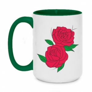 Two-toned mug 450ml Pink roses