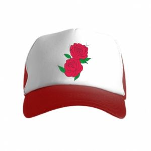 Kid's Trucker Hat Pink roses