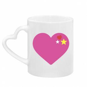 Kubek z uchwytem w kształcie serca Różowe serce