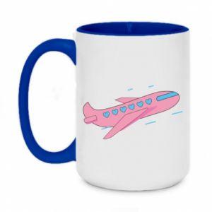 Kubek dwukolorowy 450ml Różowy samolot
