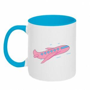 Kubek dwukolorowy Różowy samolot