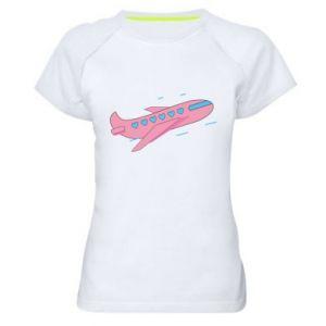 Damska koszulka sportowa Różowy samolot