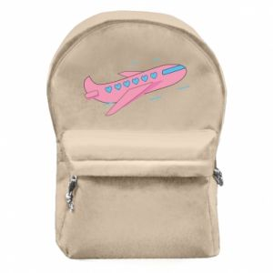 Backpack with front pocket Pink plane
