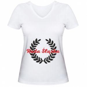 Damska koszulka V-neck Ruda Śląska w liście